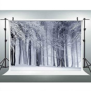 Winter Snowy Forest Background 9x6ft White Snow Scene Photography Backdrop Vinyl Photo Booth Studio Props LUCKSTY LULF142