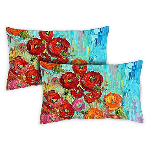 Toland Home Garden Fabulous Flowers 12 x 19 Inch Indoor/Outdoor, Pillow Case (2-Pack)