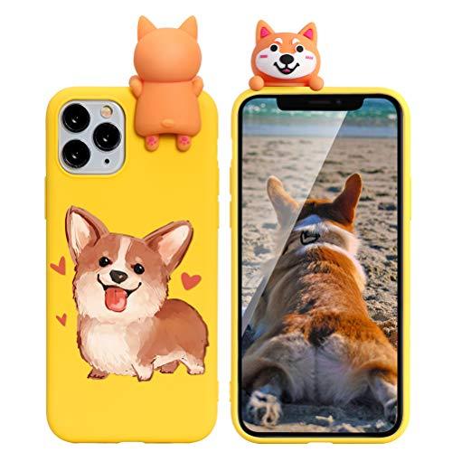 Yoedge Cover Apple iPhone 7/8 / SE 2020 con 3D Cartoon Doll, Giallo Custodia Morbido Silicone con Print Cane Pattern Drop Protection Antiurto Back Bumper Phone Case per iPhone 7/8 / SE 2, Cane 03