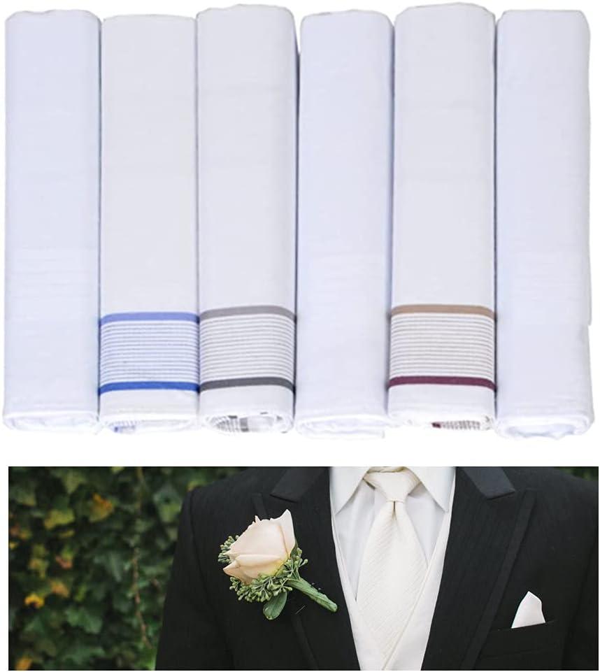 6pc Classic Mens Handkerchief Pocket Square Cotton Cloth Hankie Fancy 16x16 Gift