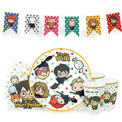 Set per Feste di Compleanno de Harry Potter con 8 Platos, 8 Vasos, 20 servilletas, 1 Pancarta - Oficial - Kawaii