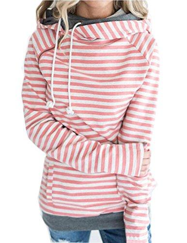 Asskdan Damen Gestreift Pulli Sweatshirts Hoodie Sport Langarm Reißverschluss Pullover Outerwear (EU 42/XL, Orange)