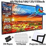 Arichtops 120 Pouces écran Pliable de Projection écran Moustiquaire de de projecteur Portable Tissu extérieur Projecteur Films écran