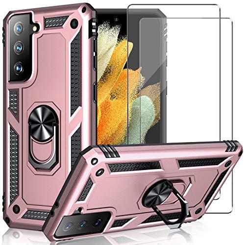 Hülle für Samsung Galaxy S21 Plus hülle + 2 panzerglas,S21 Plus hülle silikon handyhülle 360 Grad schutzhülle mit Ring Ständer case,Einfach mit Einer Hand zu bedienen