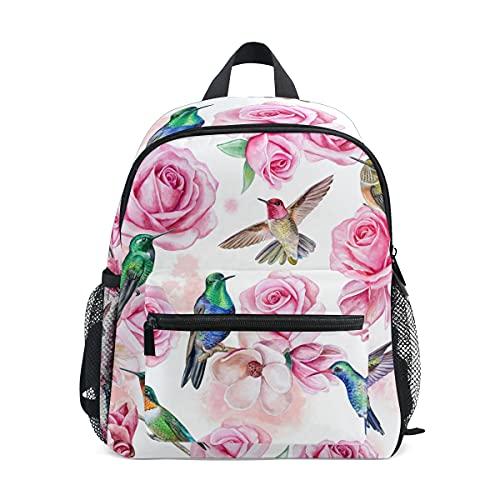 Kinder-Rucksack für Mädchen und Jungen, Kolibri, Blume, Rose, Kleinkinder, Schultasche mit Brustgurt und Flaschenhalter, Rucksack für Vorschule, Kindergarten, leicht