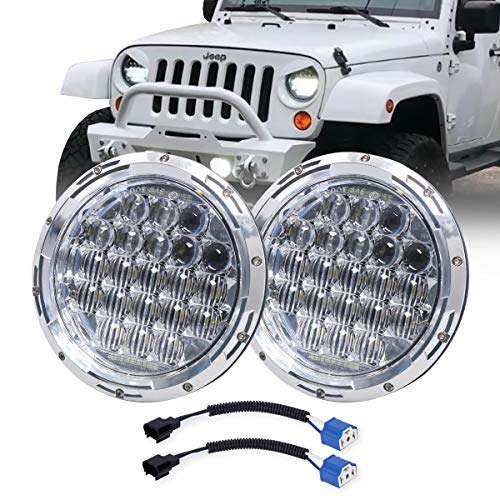 "COWONE Newest 130W 7"" inch LED Headlights DRL Compatible with Jeep Wrangler 97-2018 JK TJ LJ Hummber H1 H2 Headlamp Chrome"