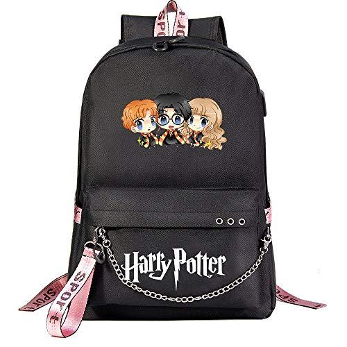Sac à Dos Magic College de Poudlard ,Sac à Dos Harry Moda ,Potter Voyage Loisirs Cartable avec Port USB et Prise Casque Noir Le Style-5