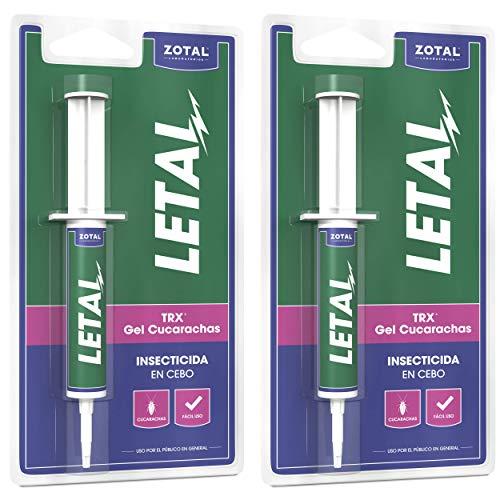 Letal TRX Gel Insecticida Cucarachas - Cebo Mata Cucarachas para Uso Doméstico de Zotal, Pack de 20 g en Total - Elimina Todo Tipo de Cucarachas - Efecto Duradero en el Control de Larvas y Adultos