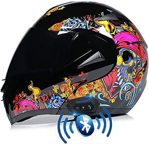 GPFFACAI Casco Integral Moto Mujer Casco anticolisión Modular de una Pieza de Cara Completa Casco de Motocicleta Tipo Flip con máscara de Lluvia y Niebla HD de Doble Lente para adultos617(Color:A;Si