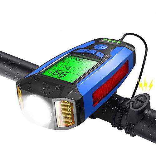 Shermosa Fahrradlicht Vorne USB Aufladbar StVZO mit Fahrradcomputer mit Tachometer mit Kolorienzähler mit Fahrradhupe Elektrisch Lampe Fahrrad Multifunktional Blau