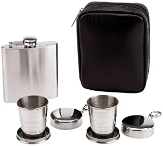 Personalized Set of 6 6Oz Flask W/ Collapsible Cup 4pc Flask and Collapsible Cups Set- Free Engraved
