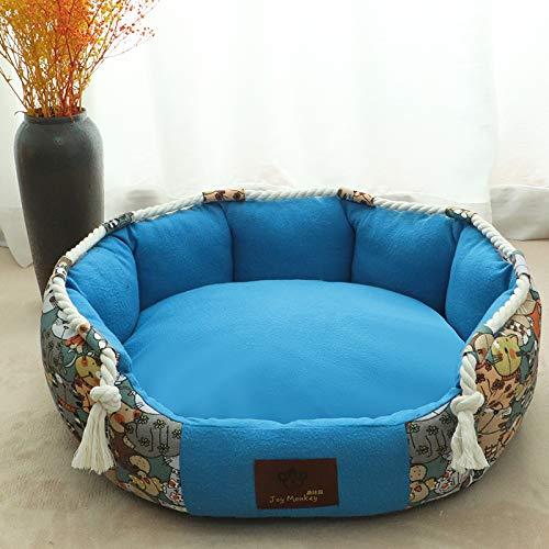 CYGJ Kleine und mittlere Haustiere mit herausnehmbaren Matten Cartoon + Blau S