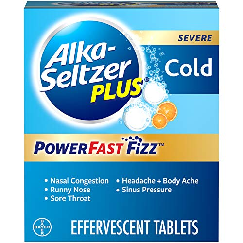 Alka-Seltzer Plus Severe, Cold, PowerFast Fizz, Zest Effervescent Tablets, for Adult with Headache, Sore Throat, Sinus Congestion, Runny Nose, Sneezing, Fever, Body Aches & Pains, Orange, 20 Count