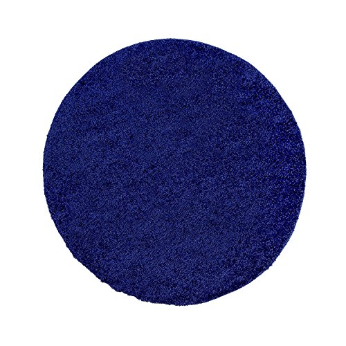 ayshaggy Shaggy Teppich Hochflor Langflor Einfarbig Uni Blau Weich Flauschig Wohnzimmer, Größe: 120 x 120 cm Rund
