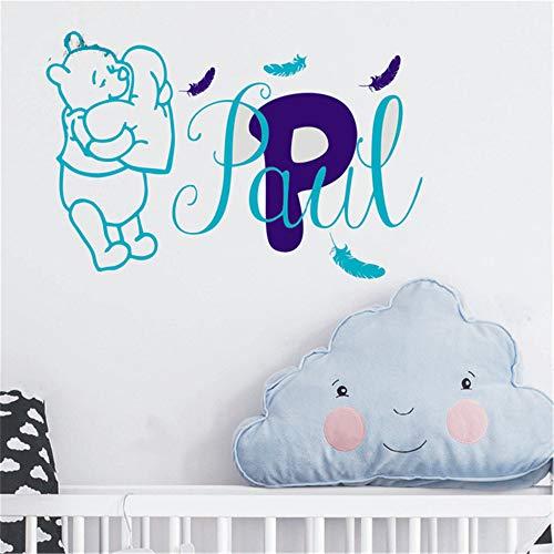 Winnie l'Ourson Sticker Bébé Winnie l'Ourson Plume Autocollant Personnalisé Personnalisé Nom Bébé Fille Garçon Chambre