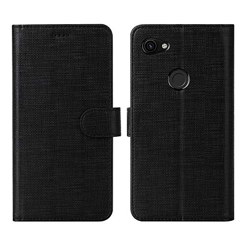 Feitenn Google Pixel 3A Case, Pixel 3A Wallet Case Cover, Flip Folio Stand Card Slots Magnetic Bumper Slim Shockproof Anti-Scratch Protective PU Leather Shell for Google Pixel 3A - Black