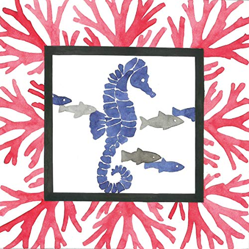 CasaJame Set di 40 (2 Confezioni da 20 Pezzi cad) Tovaglioli in Carta Monouso 3 Strati Veli 33x33cm Colore Rosso Blu Grigio Fondali Marini