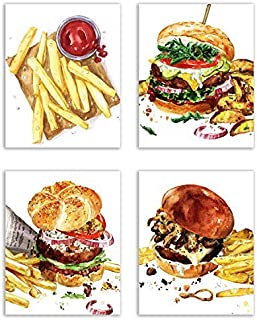 Cool Burger Kitchen Prints - Set of Four Matte Watercolor Cheese Burgers with Fries Wall Art Decor Photos 8x10