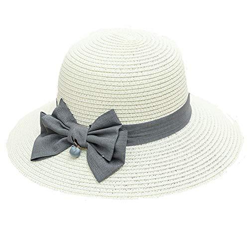 Lidylinashop SonnenhüTe Damen StrohhüTe Damen Breitkrempiger Sonnenhut Damen Damen Strohhut Sommerhüte für Damen Damen-Strohhüte für Sommer Damenhüte Sommer Creamy-White,56-58cm