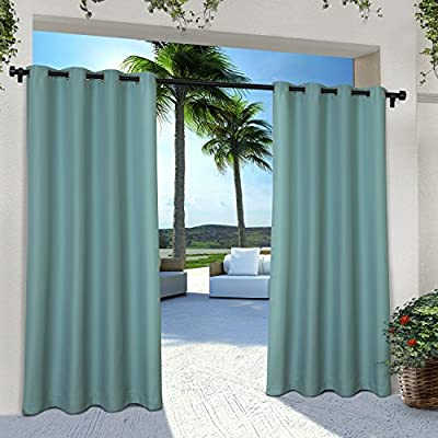 Exclusive Home Curtains Indoor/Outdoor Solid Cabana Grommet Top Curtain Panel Pair, 54x96, Teal, 2 Piece