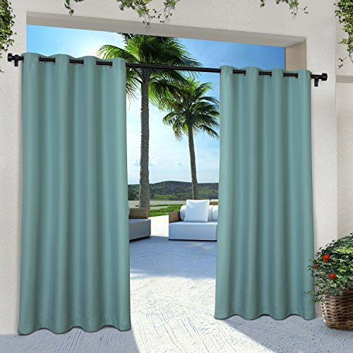 Exclusive Home Curtains Indoor/Outdoor Solid Cabana Grommet Top Curtain Panel Pair, 54x84, Teal, 2 Count