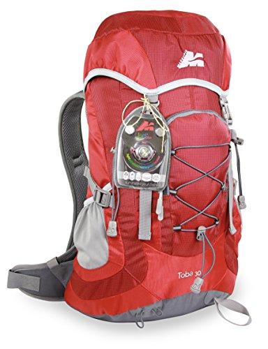 Marsupio® TOBA 30 L Sac à Dos de Trekking (30 litres Camping Voyage Randonnée Sifflet Housse Pluie + LED Plus Lampe Frontale avec Piles Bouton), Farbe:Red Groesse:30 L