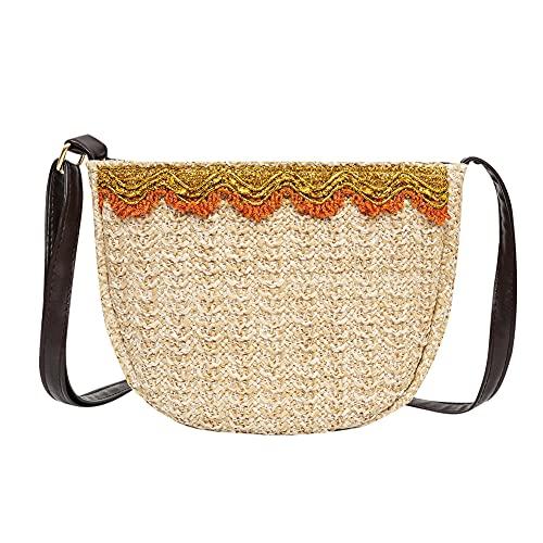 Bolsa de playa de paja pequeña, bandolera con capacidad de la mujer retro, bolsa de paja para mujer, adecuada con borla, para vacaciones en la playa, compras y tiempo libre.