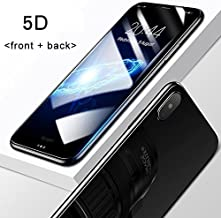 MARKET AFFAIRS 5D Round Curved Edge Tempered Glass Front with Back Screen Protector for IPhone X (Black)