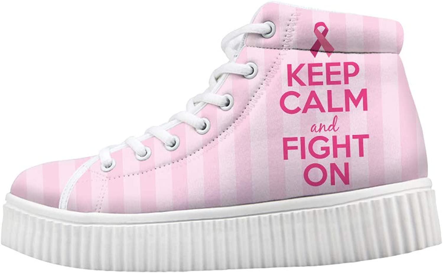 Platform Lace up Sneaker Casual Chunky Walking shoes High Top Women Breast Cancer Awareness Keep Calm and Fight On