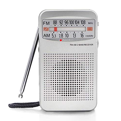 small Portable pocket radio AM FM, compact transistor radio with headphone jack and speakers, …