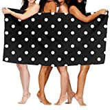 Black and White Polka Dot Bath Towels Beach Towel Quick-Drying Towel Luxury Microfiber Absorbent
