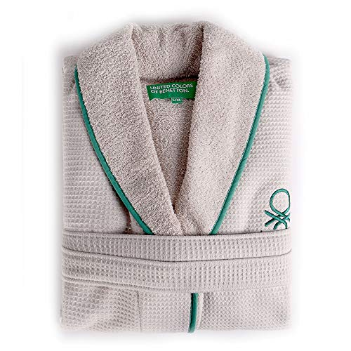 UNITED COLORS OF BENETTON. Albornoz l/XL 360gsm Nido Abeja 100% algodón Casa Benetton, Beige/Verde