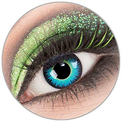 Farbige blaue 'Seraphin' Kontaktlinsen ohne Stärke 1 Paar Crazy Fun Kontaktlinsen mit Behälter zu Fasching Karneval Halloween - Topqualität von 'Giftauge'