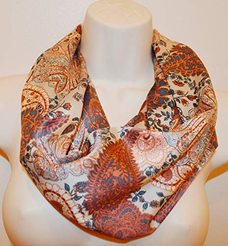 paisley infinity scarf, women colorful print scarf, infinity loop, spring/summer/fall infinity scarf, woman scarf, woman loop, scarf