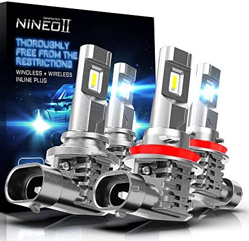 NINEO Fanless H11 9005 LED Headlight Bulbs Combo Kit Wireless High Low Beam CREE Chips 10000LM product image