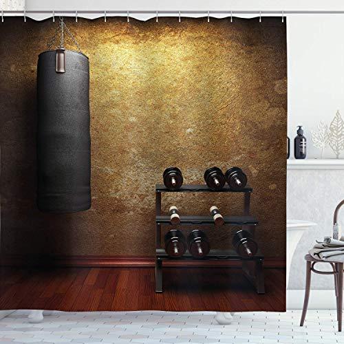 N \ A Gimnasio cortina de ducha, gimnasio con equipos, diseño de mancuernas, impresión digital 3D, juego de baño con ganchos, 72 pulgadas de largo