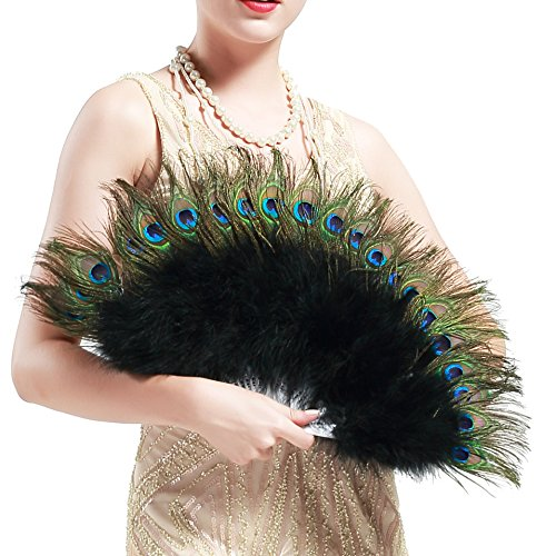 BABEYOND Roaring 20s Vintage Style Peacock & Black Marabou Feather Fan Flapper Accessories (15' L & 27' Spread)