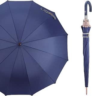 CARRYWON 45 Inch Auto Open Stick Umbrella, Large Canopy 12 Ribs Waterproof Windproof J Handle Golf Umbrella for Men Women Adults (multiple colors)