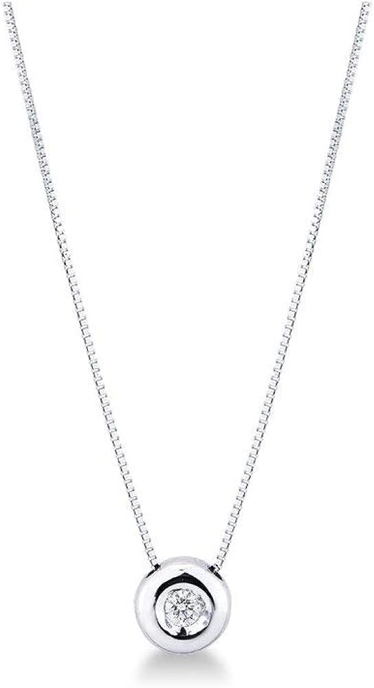 Collana da donna punto luce a cipollina in oro bianco 18k con diamante gioielli di valenza 1PROMO