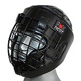 FOX-FIGHT Kopfschutz mit Metallgitterfront für Gesichtsschutz. Headguard aus echtem Leder mit Kopfdeckel. Boxhelm für Kampfsport