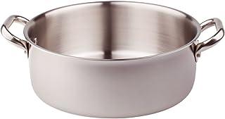 Pentole Agnelli ALIX106ALIN28 Casseruola Bassa con 2 Maniglie in acciaio, Trilaminato Alluminio-Acciaio per induzione, 28 cm