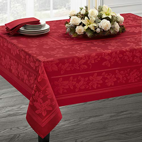 Holiday Elegance Engineered Jacquard Christmas Tablecloth (RED, 60' X 84' Rectangular)