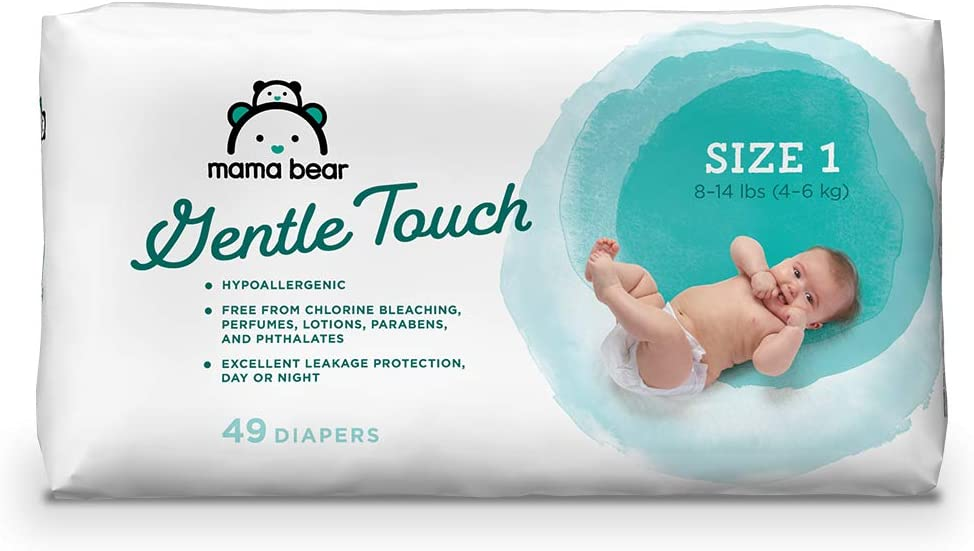 Amazon Brand - Mama Bear Gentle Touch Diapers, Size 1 (49 Count), White