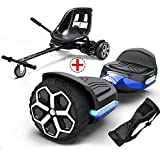 """GYROOR T581 Hoverboard 6.5"""" Off Road All Terrain Hoverboards with Bluetooth Speaker&LED Lights Two-Wheel Self Balancing Hoverboard with Kart Seat Attachment UL2272 Certified for Kids & Adults(Blue)"""