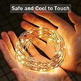 LE 12M LED Lichterkette Draht aus Kupferdraht, 100 LEDs, Wasserdicht IP65, Strombetrieben, ideal Stimmungslichter für Weihnachtsdeko Innen Außen Weihnachten Party Hochzeit usw. Warmweiß - 6