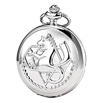 Morfong Pocket Watch Fullmetal Alchemist Edward Elric Anime with Fob Chain Necklace Box Silver