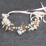 Ownlife Elegante Blumenkranz Stirnband Handgemachte Perle Brautstirnband Hochzeitszubehör,...
