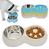Hifrenchies Gamelle interactive en acier inoxydable pour chien - Pour manger lentement et boire - Pour chien bouledogue français - Écuelle écologique - Blanc