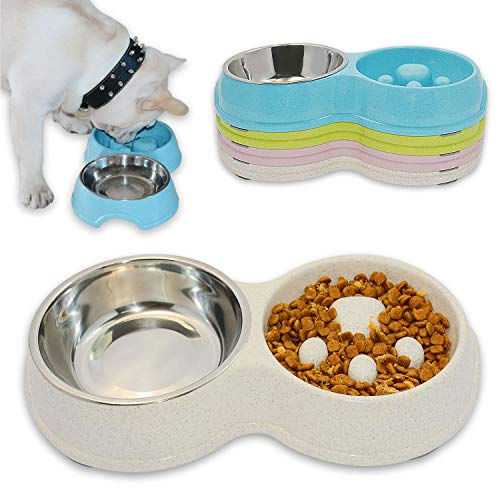 Hifrenchies Dog Slow Eating & Drinking Bowl,Stainless Steel Interactive Slow Feed Dog Bowl for French Bulldog,Slow Down Eating Eco-Friendly pet Bowl for Frenchie (White)