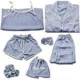 MDHDSY 8piece Set Pajamas Set Women Cotton Pyjamas Female Long Shirt Fashion Sleepwear M Style 4